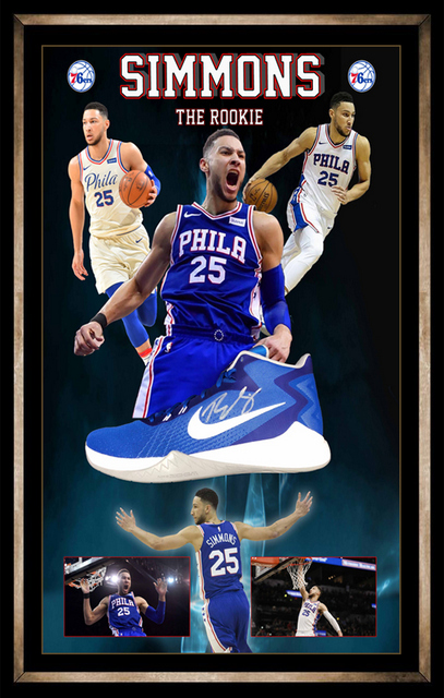 Ben Simmons Personally Signed Nike Basketball Boot, Framed