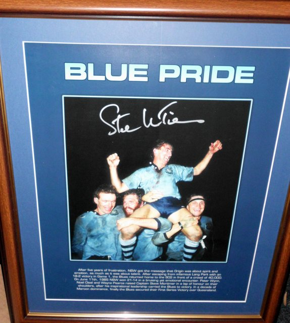 Blue Pride NSW State of Origin print signed, Framed