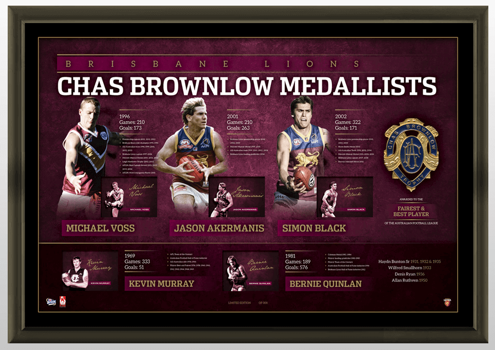 Brisbane Lions History of Brownlow Medal Signed Deluxe Lithograph – Framed