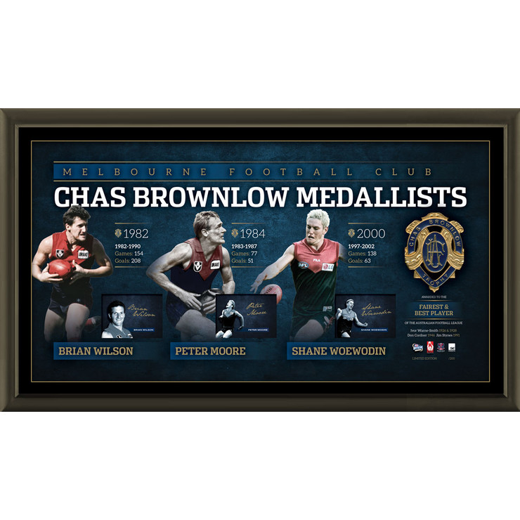 Melbourne Demons - History Of The Brownlow Signed & Framed Limited Edition Deluxe Lithograph