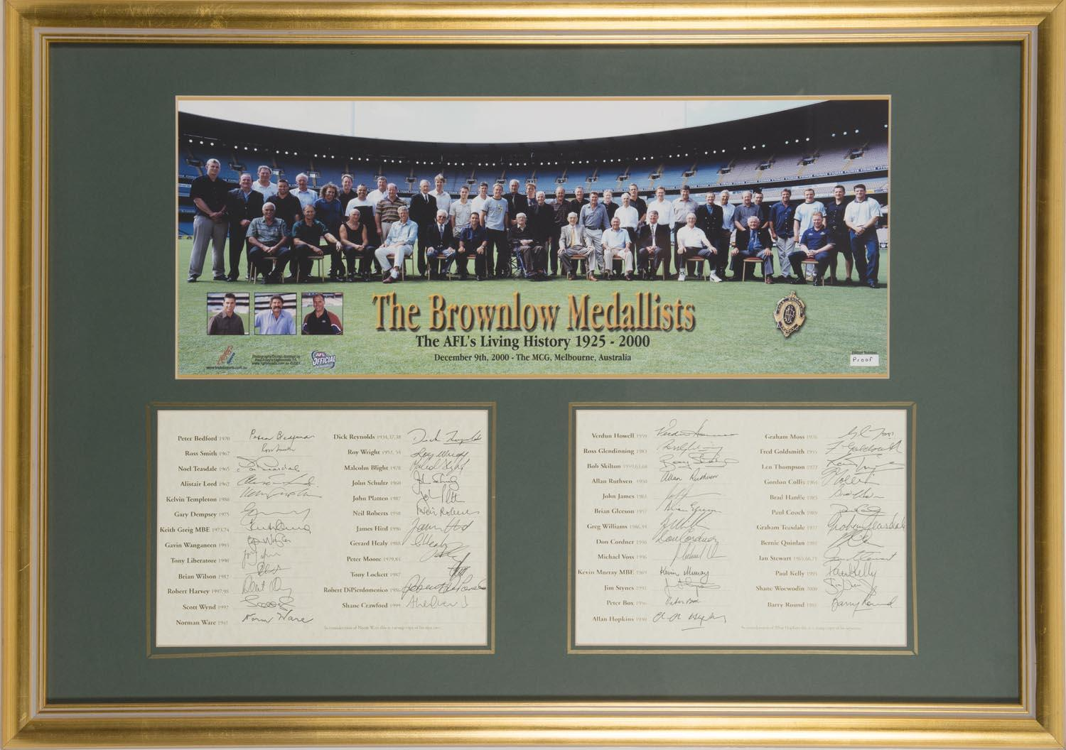 """The Brownlow Medallists"", Hand Signed by 49 including Greig, Skilton, Voss, Harvey, Blight, Liberatore, Williams"