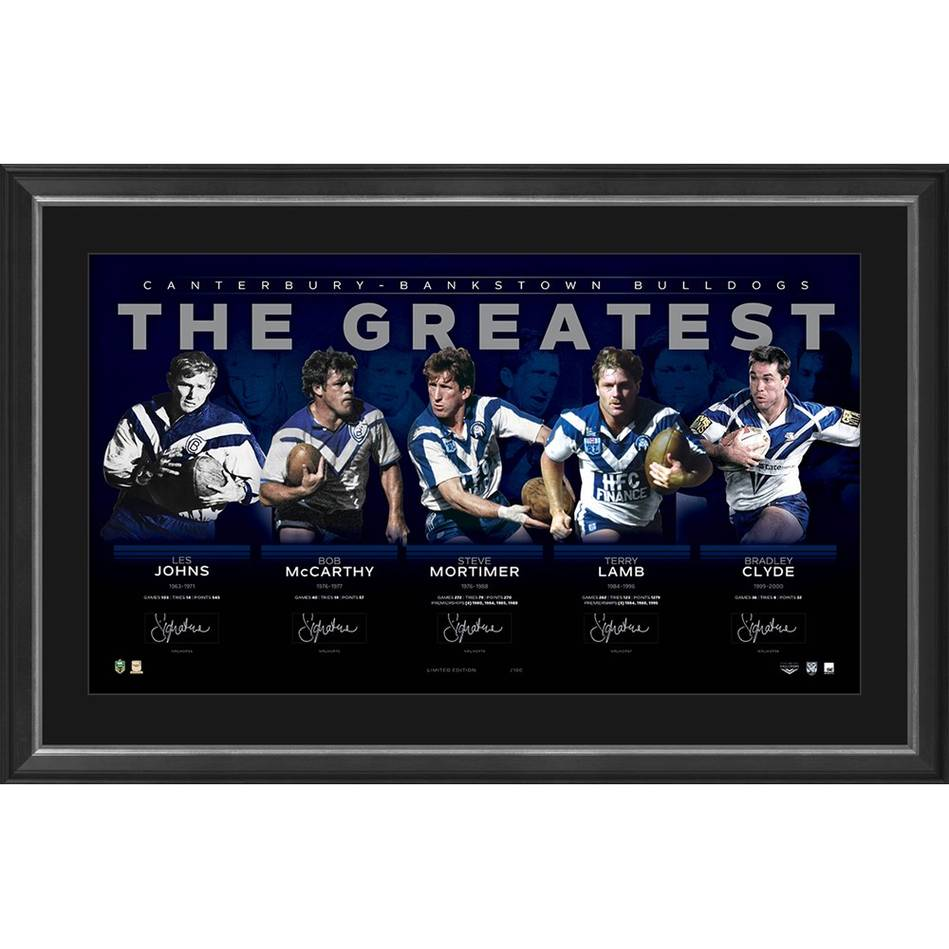 "Canterbury Bankstown Bulldogs ""The Greatest"", Personally Signed, Framed - Lamb, Mortimer, McCarthy"