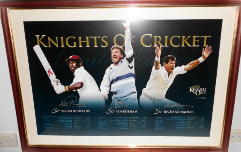 3 Knights of Cricket Personally Signed Lithograph - Sirs Viv Richards, Ian Botham, and Richard Hadlee