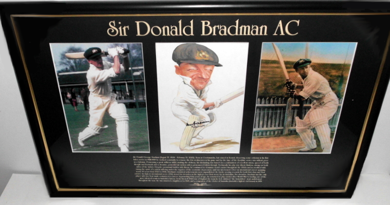"Sir Donald Bradman Personally Signed ""The Late Cut"", Framed"