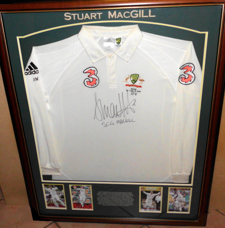 "Stuart ""SCG"" MacGill Test-Worn Shirt, 2007-2008 v Sri Lanka, Framed"