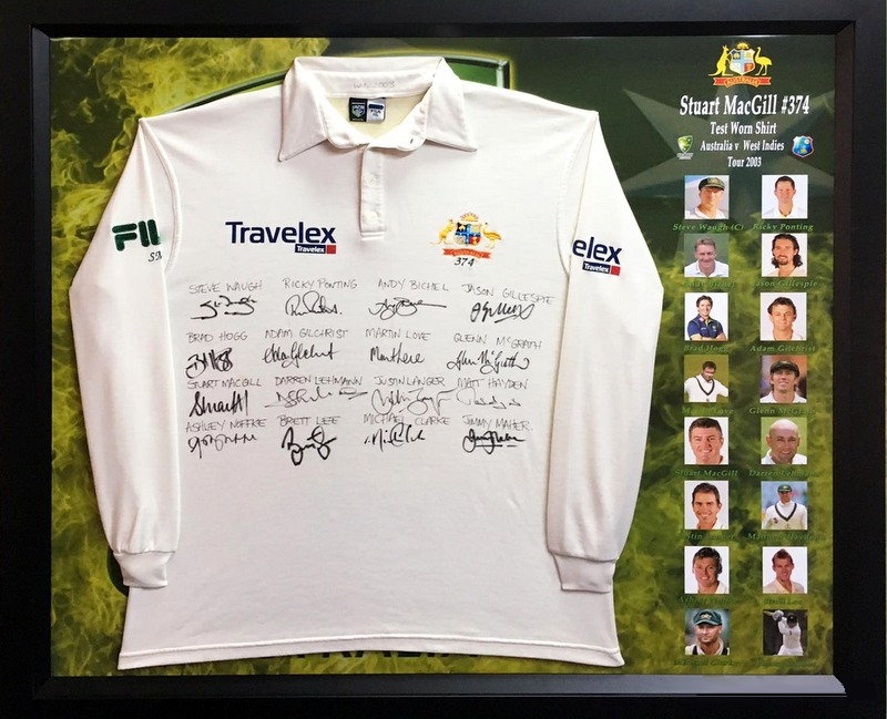 Stuart MacGill 2003 West Indies Tour Test-Worn Shirt, Team Signed