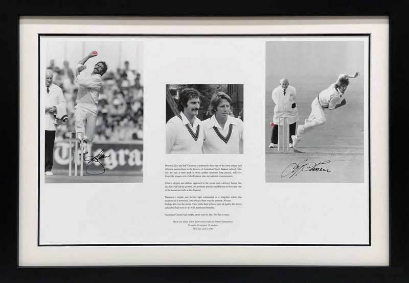 HOWZAT! Classic signed and framed Lillee & Thomson Piece. From Thommo's Collection!