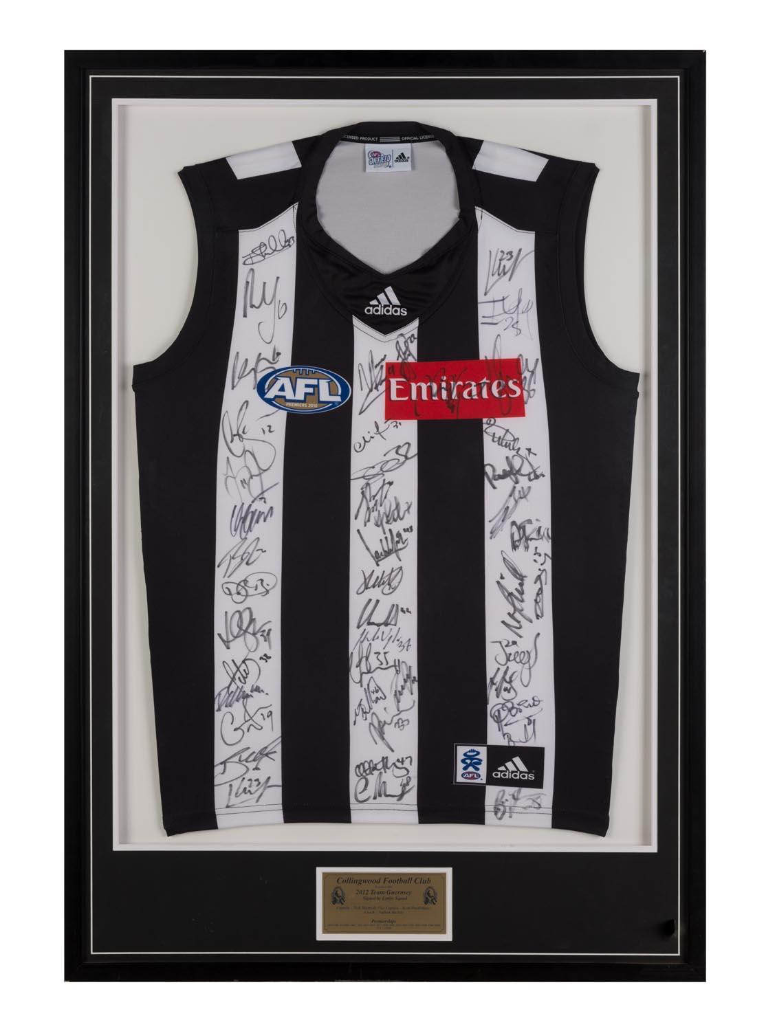 Collingwood Magpies 2012 Squad-Signed Jersey signed by 40, Framed