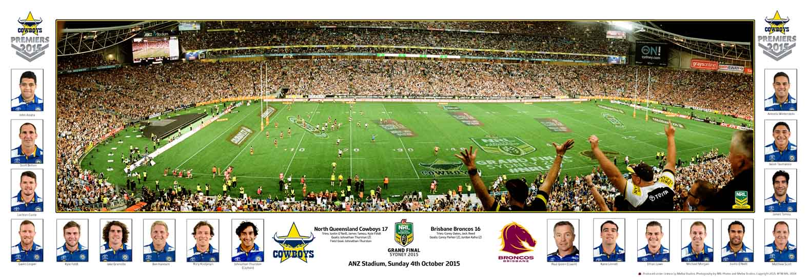 North Queensland Cowboys 2015 Premiers Grand Final Panoramic, Framed - SPECIAL!