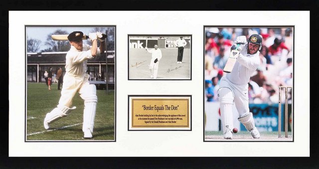 """Border Equals The Don"", Personally Signed by Allan Border and Sir Donald Bradman, Framed"