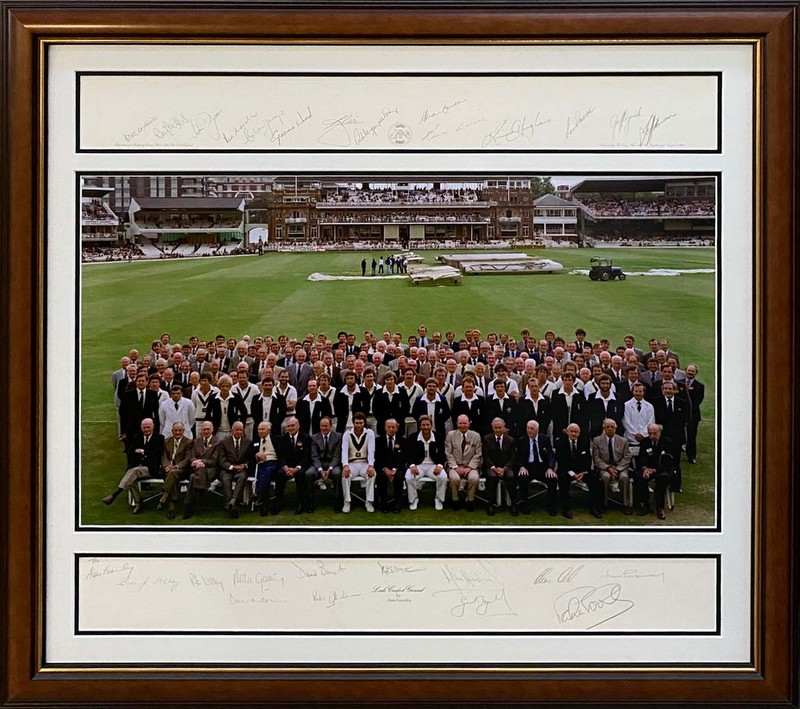 Australia v England 1980 Centenary Test Tribute Signed by Both Teams - Lillee, Marsh, Gower, Botham