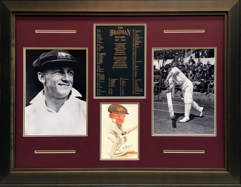 "Sir Donald Bradman Personally Signed ""Studies in Perfection II"", Framed"