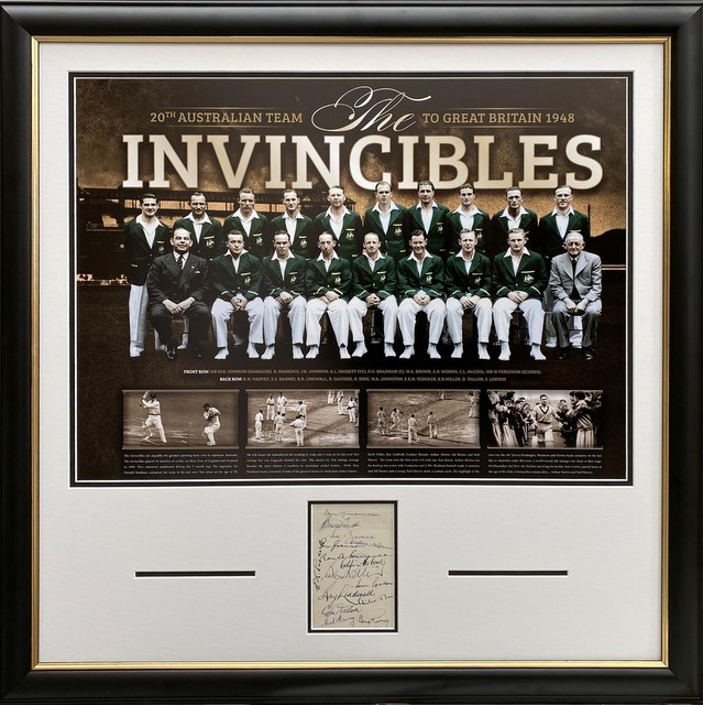 Bradman's Invincibles - 1948 England Tour Tribute Personally Signed by 13 Invincibles, Framed