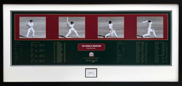 "Sir Donald Bradman ""Frame By Frame"" With Bradman Museum Authorised Signature, Framed"