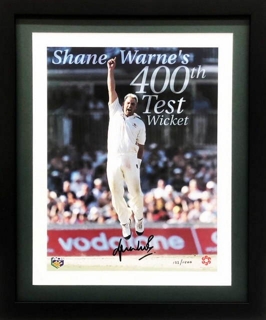 "Shane Warne Personally Signed ""400th Test Wicket"", Framed"