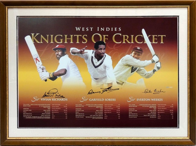 3 Knights of West Indies Cricket Personally Signed Lithograph - Sirs Viv Richards, Gary Sobers, and Everton Weekes