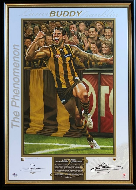 "Lance Franklin, ""The Phenomenon"", Hawthorn Hawks Tribute, Personally Signed, Framed"