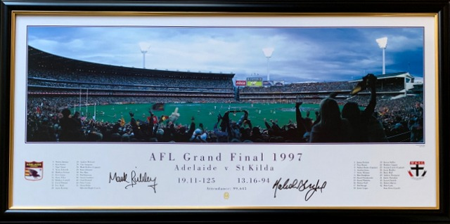 Adelaide Crows 1997 Premiership Panoramic, Personally Signed by Mark Bickley and Malcolm Blight, Framed