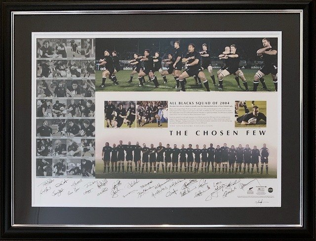 "New Zealand All Blacks 2004 ""The Chosen Few"" Team and Coach Personally Signed Lithograph, Framed"