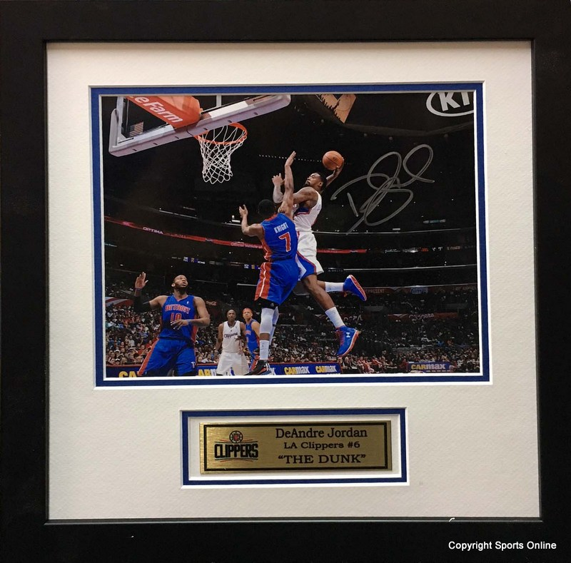 "DeAndre Jordan Hand Signed ""Dunk"" Photo, LA Clippers, Framed"