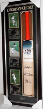 3 Knights of Cricket Personally Signed Bat - Sirs Viv Richards, Ian Botham, and Richard Hadlee