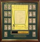 """Bradman and His Invincibles"" - Includes Signed 1948 Team Sheet and Additional Mini Bat signed by Sir Donald Bradman, Framed"