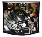 "MARCUS MARIOTA SIGNED LE OREGON FULL-SIZE AUTHENTIC PRO-LINE CUSTOM MATTE BLACK & CHROME WINGS HELMET INSCRIBED ""HEISMAN '14"" W/ CUSTOM DESIGNED CURVE DISPLAY STEINER LE 14"