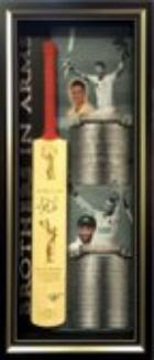 Phillip Hughes and Michael Clarke Personally Signed Bat, Framed