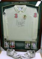 Stuart MacGill Test-Worn Shirt - Worn While Taking 200th Test Wicket! - Framed and Signed