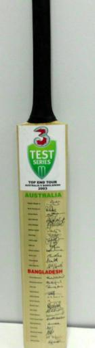Australia and Bangladesh 2003 Teams-Signed Bat Featuring Waugh, Ponting, Gilchrist, McGrath - from The Stuart MacGill Collection