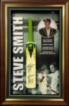 Steve Smith Personally Signed Mini Bat, Framed - New!