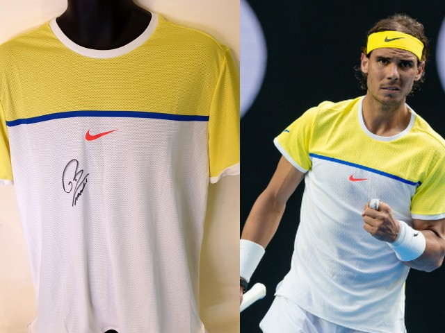 Rafael Nadal MATCH WORN Personally Signed Tennis Shirt, Australian Open 2016