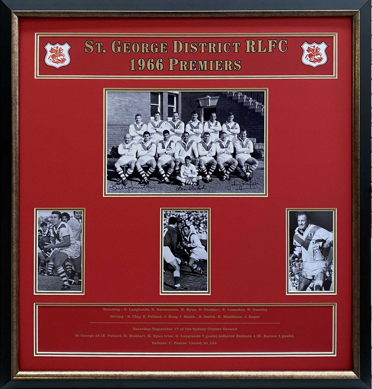 St George Dragons 1966 Premiers Tribute Personally Signed by John Raper, Billy Smith and Ian Walsh, Framed