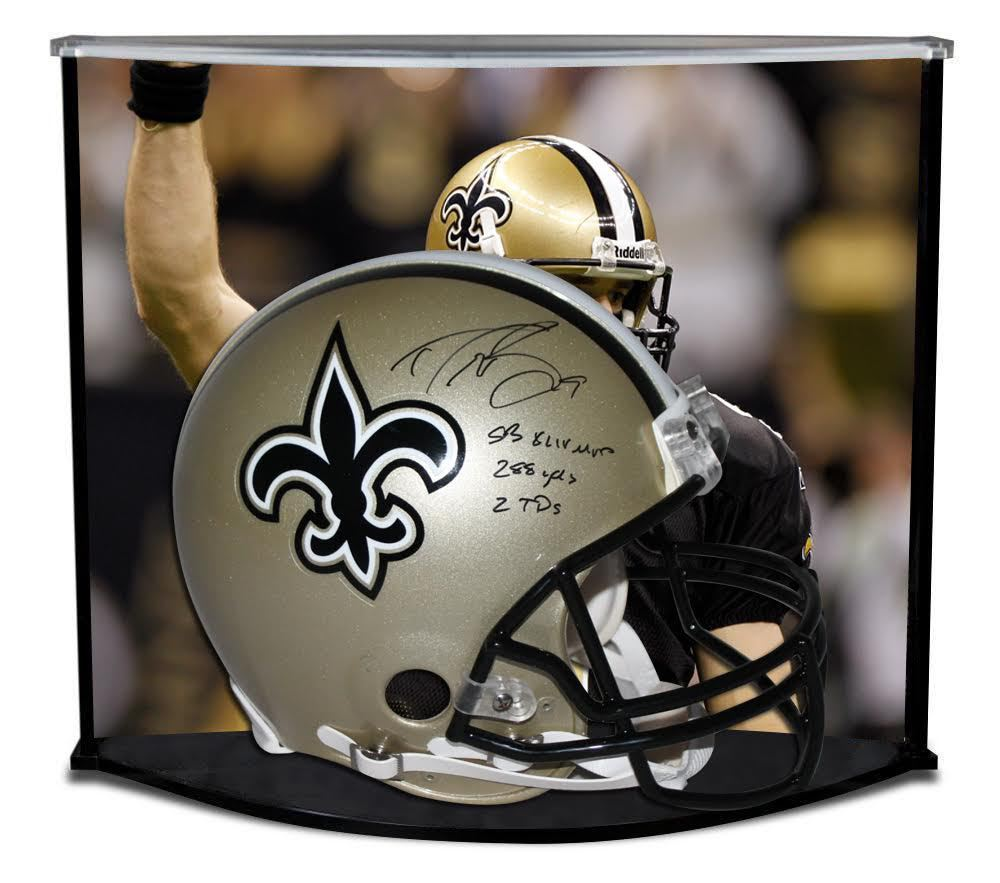 "DREW BREES SIGNED / INSCRIBED ""SB XLIV MVP"" PROLINE SAINTS HELMET W/ CUSTOM DESIGNED CURVE DISPLAY STEINER LE 9"