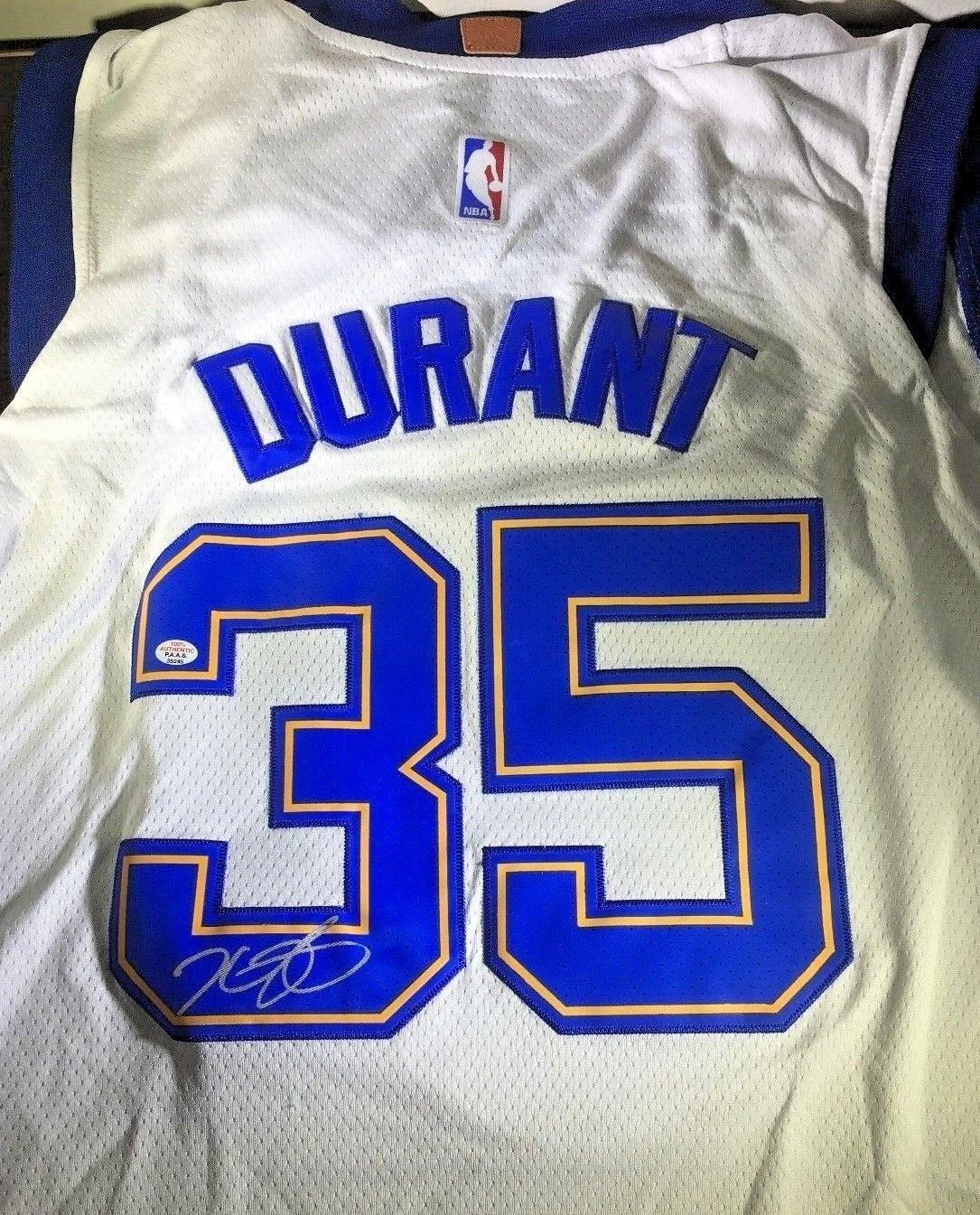 KEVIN DURANT AUTOGRAPHED WHITE GOLDEN STATE WARRIORS SWINGMAN JERSEY PANINI