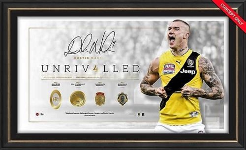 "Dustin Martin Deluxe ""UNRIVALLED"" With Replica Foil Medals, Framed, Official AFL, GREAT PRICE"