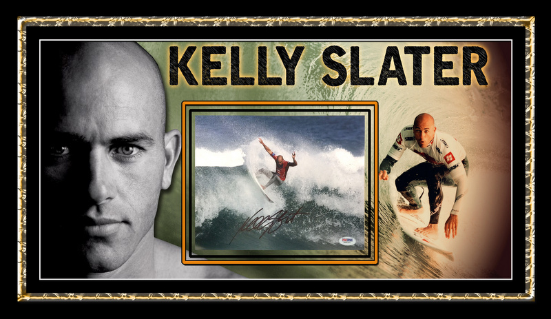"Kelly Slater Personally Signed ""Legend"", Framed, with PSA/DNA Authenticity"
