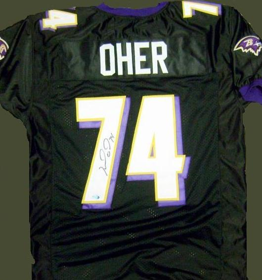 Michael Oher signed Baltimore Ravens jersey