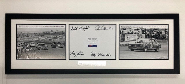 Bathurst GTHO Ford Falcons 50 Year Collage Signed Moffat, Gibson, Hamilton, French