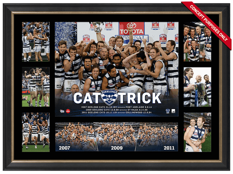 Geelong Cats 2007-09-11 'Cat-Trick' Premiership Glory Tribute – Framed