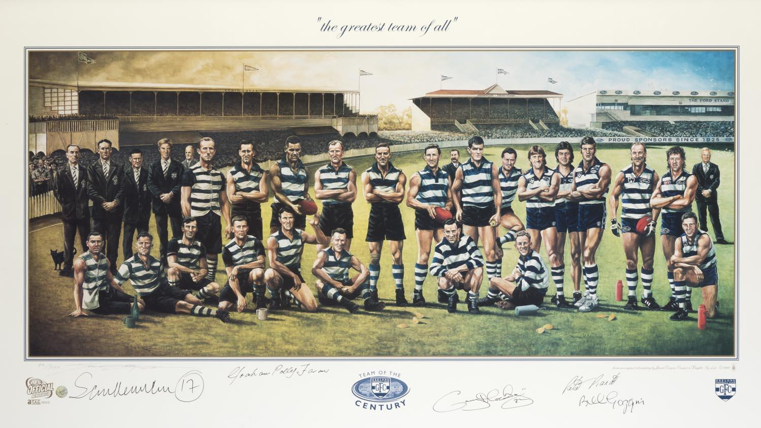 "Geelong ""Team of the Century"" Jamie Cooper Print, Hand Signed by 5 Incl Hocking, Pianto, Farmer, Newman, & Goggin"