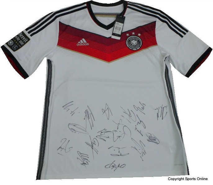 Germany 2014 World Cup Winners Training Jersey, Team-Signed - Podolski, Muller, Klose