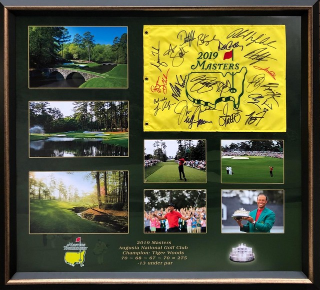 "Tiger Woods ""Leaderboard and Legends"" Hand Signed 2019 Masters Flag Also Signed by Greats"