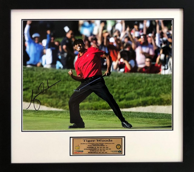 Tiger Woods signed 'Tiger', Framed