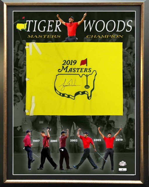 "Tiger Woods ""Master Again"" Personally Signed 2019 Masters Flag, Framed"