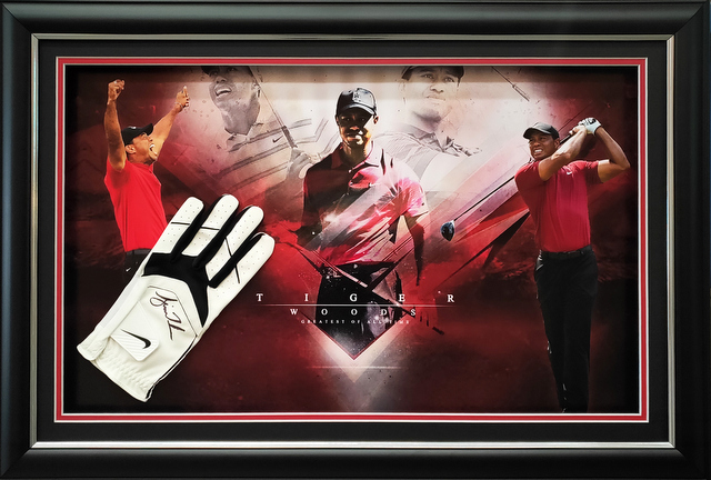 "Tiger Woods ""Master"" Personally Signed Golf Glove Montage, Framed"