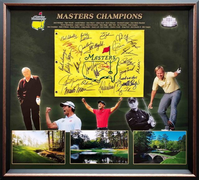 US Masters Champions Hand Signed Pin Flag - Nicklaus, Woods, Player, Palmer, Scott
