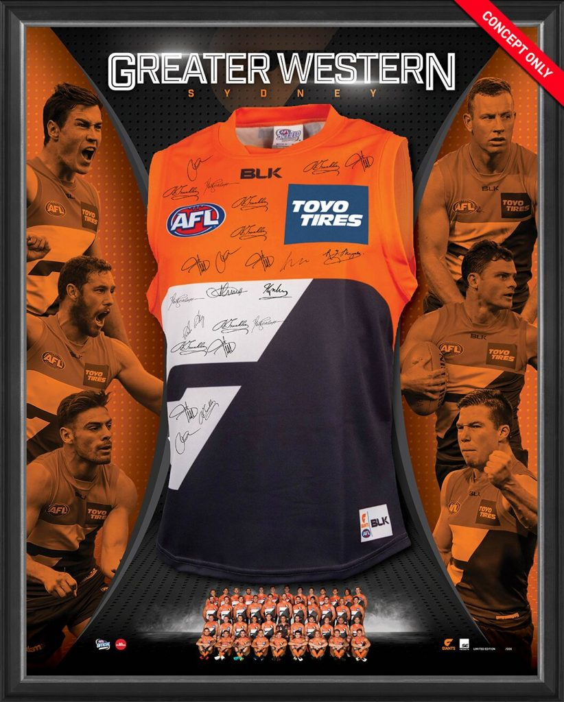Greater Western Sydney Giants 2017 Squad Signed Guernsey, Framed