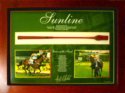 "Sunline ""Queen of the Track"" Whip Lithograph personally signed by Greg Childs"