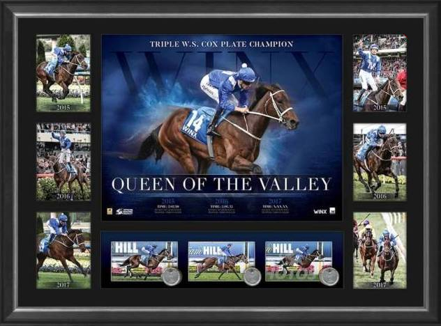 "Winx ""Racing Royalty"" Triple Cox Plate Victory Sportsprint, Framed"